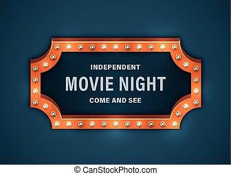 film, nacht, meldingsbord