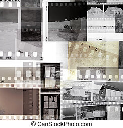 Film negatives  - Grungy old film negatives overlapping