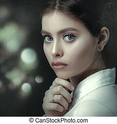 Film noir, beauty female portrait, grungy style