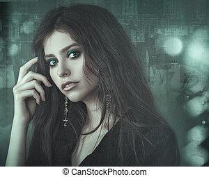 Film noir, beauty female portrait, vogue style