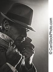 Film noir confident detective with borsalino hat, 1950s style