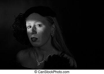 Film Noir Portrait of Glamorous Woman