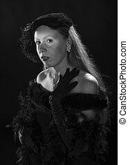 Film Noir Portrait of Woman in Vintage Clothing