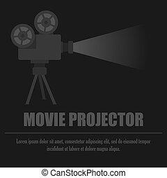 film, noir, projecteur, fond, gris