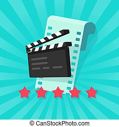 Film or movie cinematography rating or review vector illustration flat cartoon, rate stars with film strip and clapper board, concept of cinema quality