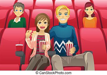film, paar, schouwend