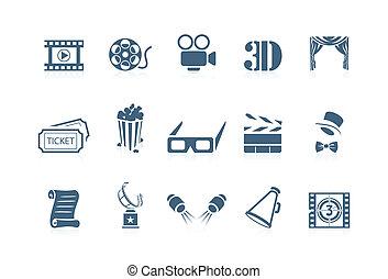 film, piccolo, cinéma, -, icônes