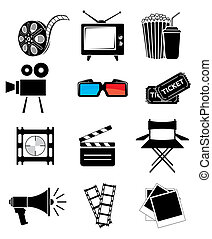 film, pictogram, set