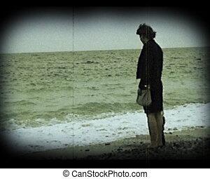 film, plage, vieux, scène, maison