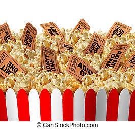 film, pop-corn, billets
