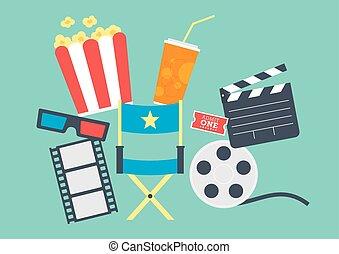 film, popcorn, biljett, clapperboard, film