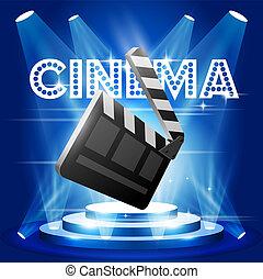 film, premiär, affisch, med, clapperen stiger ombord, scen, -, bio, och, film, begrepp