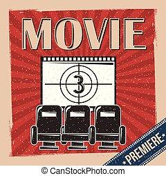 film premiär, affisch, retro, årgång, stol, och, bildband, nedräkning