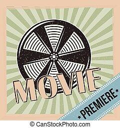 film premiär, rulle, film, och, stripes, bakgrund, årgång