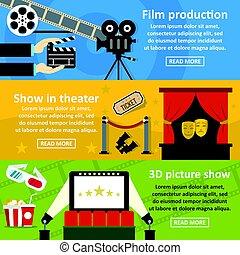 Film production banner horizontal set, flat style