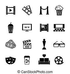 film, progetta, nero, bianco, icona
