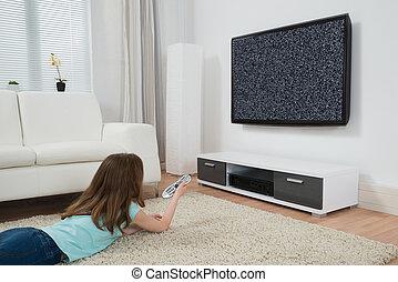 film, ragazza, osservare televisione