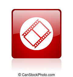 film red square web glossy icon