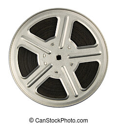 Film reel - 16 mm motion picture film reel, isolated on ...