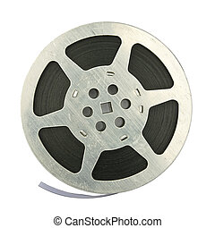 Film reel - 16mm vintage motion picture film reel, isolated...