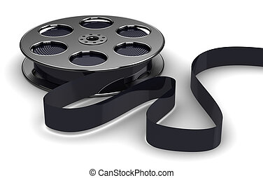 film reel - 3d illustration of cinema fil reel, over white...