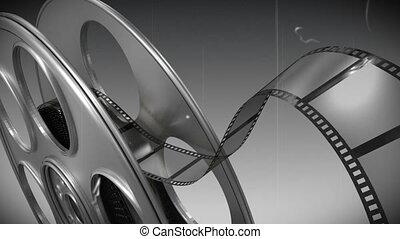 Film reel against black and white background - Digitally ...