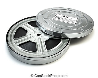 Film reel and box. Video, movie, cinema vintage concept.