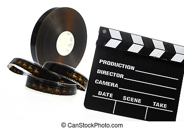 Film reel and cinema clap - A black film case reel and a...