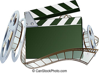 An illustration of a film reel and clapper board with copyspace on the board