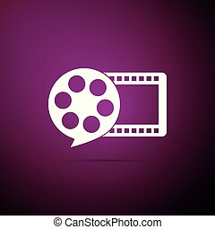Film reel and play video movie film icon isolated on purple background. Flat design. Vector Illustration