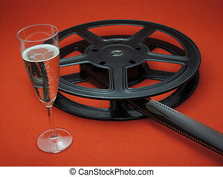 Film reel and sparkling Champange