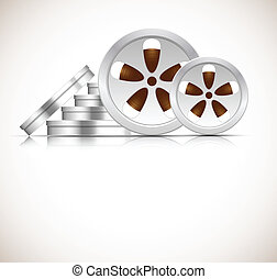 Film reel - Bright background with stack of film reel