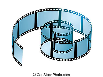 Film reel curl - Old film strip in a spiral curl with blue...