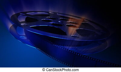A rotating film reel with impressing light