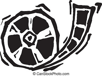 Film reel in black and white or pen and ink style.