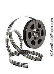 Film Reel - Film reel curling over white background. Home...