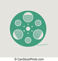 Film reel icon. Gray background with green. Vector...