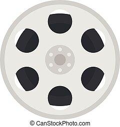 Film reel icon, flat style