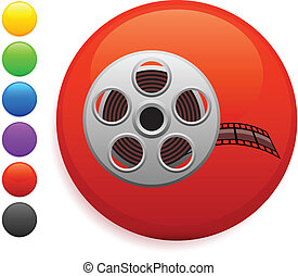 film reel icon on round internet button