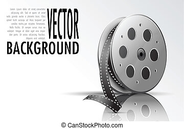 Film Reel - illustration of film reel on abstract background