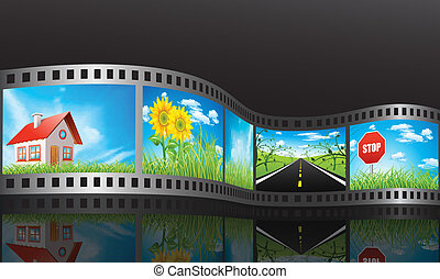 Film reel with nature concepts.
