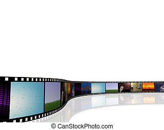 Film Reel - Image of a cinema reel with pictures on a white...