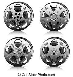 Film reel collection. Vector illustration.
