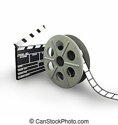 Film Reel isolated on White background - 3d illustration