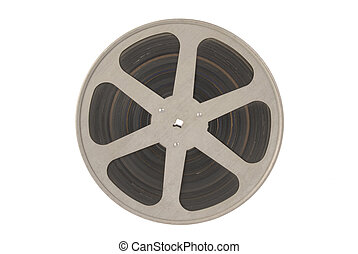 Film reel isolated. - Single roll of film isolated on white...