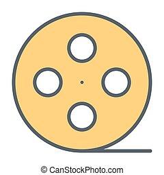 Film reel line icon. Cinema production symbol. Vector illustration