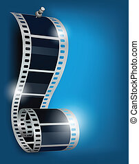 Film reel with stud on blue background