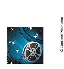 Film Reel on Blue Background