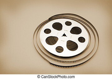 Film Reel on Seamless Warm Background