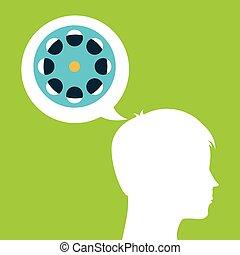 film reel silhouette head think movie